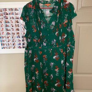 NWOT ModCloth Green Cat Dress